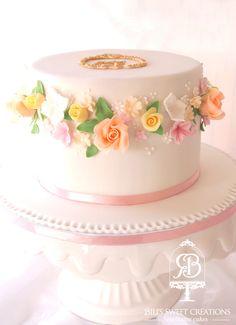 floral romantic wedding cake