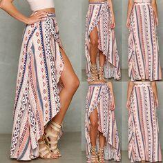 Summer Sexy Women Ladies Boho Long Maxi Evening Party Skirt Beach Dress Sundress