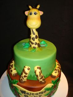 Safari Baby Shower Cake.  All chocolate with whipped chocolate ganache