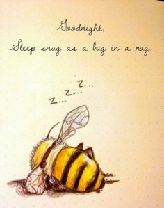 Never mind the quote. Sleeping busy bee = perfect for me - add black ribbon fo. : Never mind the quote. Sleeping busy bee = perfect for me - add black ribbon fo. Bee Quotes, Lucky Quotes, Buzzy Bee, I Love Bees, Bee Art, Good Night Quotes, Bee Happy, Bees Knees, Perfect For Me
