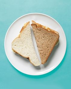 Such a simple idea for picky kids: use one slice of whole wheat, one slice of white bread in a sandwich, and flip the halves around. (Maybe they'll realize brown bread isn't so bad?)