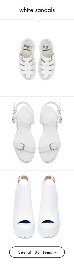 """white sandals"" by amy-lopez-cxxi ❤ liked on Polyvore featuring shoes, sandals, white, footwear, dr. martens, dr martens shoes, dr martens sandals, dr martens footwear, white sandals and flats"