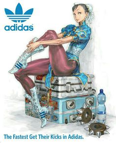 This illustration of Street Fighter character Chun-Li sitting on a suitcase has been made by Japanese artist Kinu Nishimura. He has been one of the most important artists for the Street Fighter series. Street Fighter 4, Capcom Street Fighter, Street Fighter Characters, Chun Li, Video Game Characters, Female Characters, Fictional Characters, Cosplay Games, Character Art