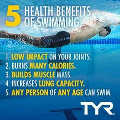 5 Benefits of Swimming. It's a low impact workout that burns calories and builds muscle mass. So hit the swimming pool! Swimming Memes, Swimming Tips, Swimming Diving, Sea Diving, Swimming Fitness, Nerd Fitness, Health Fitness, Fitness Motivation, Wellness Fitness