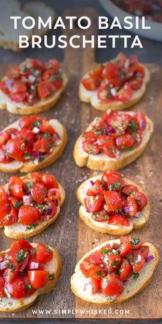Simple Tomato Basil Bruschetta | tomato bruschetta, bruschetta recipe, dairy free appetizer, #dairyfree #bruschetta #appetizer, healthy appetizer, crostini #tomato