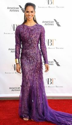 Misty Copeland in Prabal Gurung attends the American Ballet Theatre spring gala… Celebrity Gowns, Celebrity Red Carpet, Celebrity Style, Nice Dresses, Prom Dresses, Formal Dresses, Purple Outfits, Long Sleeve Gown, Prabal Gurung