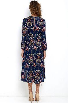 Boho Midi Dress - Navy Blue Dress - Floral Print Dress - Long Sleeve Dress - $67.00
