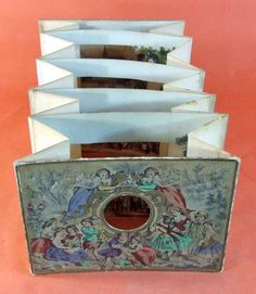 Collection de Pre-cinema de Francois Binetruy, Versailles: PERSPECTIVE d'ENGENTHAL vers 1850 Paper Crafts For Kids, Book Crafts, Fun Crafts, Origami Paper Folding, Kids Origami, Image Beautiful, Concertina Book, Libros Pop-up, Tunnel Book