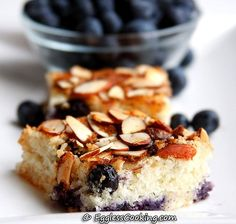 "Eggless Blueberry Coffee Cake -- just made this (sans almonds) and it is delicious! Has that sugary-crispy ""crust"" that cakes sometimes get, yummm"