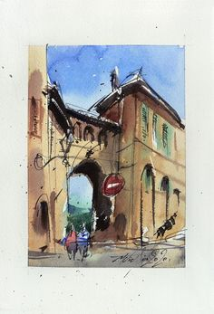 View: Treia, LeMarche, Italy, Ink and Watercolor on paper, 2020 | Artfinder Paper Tags, Urban Sketching, My Works, Marines, Watercolour, My Photos, Original Art, Italy, Ink