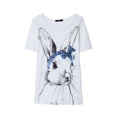 MARKUS LUPFER Bunny Hannah Tee ($130) ❤ liked on Polyvore featuring tops, t-shirts, shirts, tees, markus lupfer top, markus lupfer t shirt, markus lupfer tee, t shirts and bunny shirt