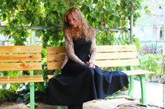 """Купить Теплая юбочка """"Тата"""" - черный, однотонный, длинная юбка, теплая юбка, зимняя юбка"""