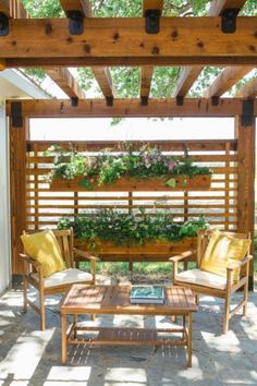 Image result for pergola with planter boxes
