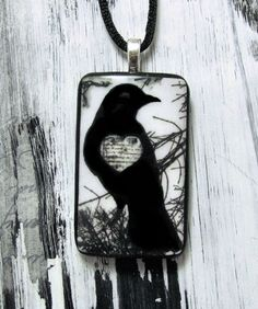 Raven Jewelry Mixed Media Wearable Art