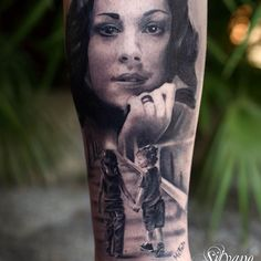 "Silvano Fiato amazes with this beautiful tribute piece for his client and friend who get's a portrait tattoo of his wife ""She is my greatest Love and the 2 children represent the 2 of us. We like to call us Bimbi, that means Kids.. "" he describes"