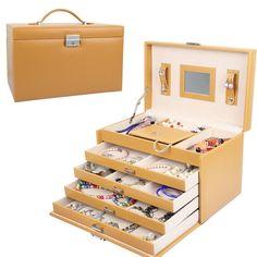 Yorbay® Schmuckkoffer Schmuckkasten Schatulle Kosmetikkoffer Schmuckkiste Schmuckkästchen (4 Schubladen, Schwarz): Amazon.de: Koffer, Rucksäcke & Taschen