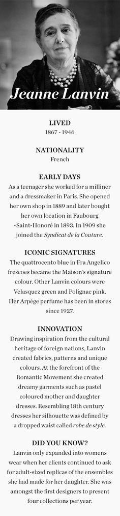 Fashion Designer: Jeanne Lanvin Link: http://www.theguardian.com/fashion/gallery/2015/mar/05/jeanne-lanvin-palais-galliera-paris-exhibition-in-pictures