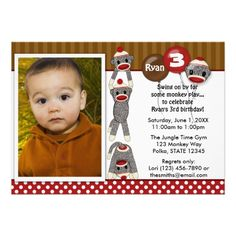 Custom Photo Silly SOCK MONKEY Birthday Invitation