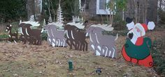 Santa and his reindeer with Rudolph. Holiday Signs, Holiday Ideas, Christmas Lights, Christmas Decorations, Real Estate Signs, Santa And His Reindeer, Corrugated Plastic, Sign Design, Yard Art
