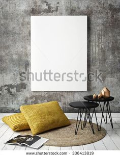 Mock Up Poster Frames In Hipster Interior Background 3D Render