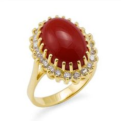 Red Coral Ring with Diamonds in Yellow Gold Coral Ring, Coral Jewelry, Gold Ring, Colored Engagement Rings, Best Friend Jewelry, Coral Stone, Red Coral, Yellow, Beautiful Rings
