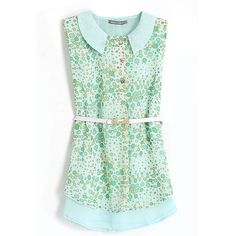 Green Peter Pan Collar Dew Print Chiffon Sleeveless Blouse ❤ liked on Polyvore featuring tops, blouses, peter pan collar top, green chiffon blouse, sleeveless peter pan collar blouse, sleeveless blouse and peter pan collar blouse