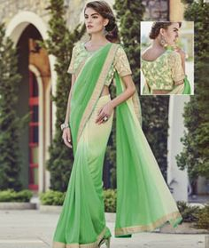 Buy Green Georgette Party Wear Saree 73913 with blouse online at lowest price…