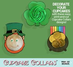 Dress up your cupcakes and be the hit of the party with our exclusive Cupcake Collars™ printables.  HOW TO USE CUPCAKE COLLARS: — After purchase, download your files directly from Etsy — Print our PDF onto standard white cardstock — Cut out the designs — Optionally laminate for easier reuse — Slip onto your cupcakes, securing with tape if needed — Add frosting and decorations you choose  THIS LISTING INCLUDES: — Leprechaun — Shamrock — Pot of Gold  All Cupcake Collars designs have two…