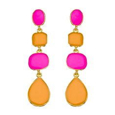 Kenneth Jay Lane Multi-Shape Pink and Orange Dangle Earrings ($90) ❤ liked on Polyvore