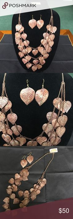 Gorgeous leaf necklace and earrings set. Rustic metal leaves. Stunning statement piece! Non-smoking home. Talbots Jewelry Necklaces