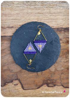 Miyuki delica & micro macrame arrow head / triangle pendant earrings neon…