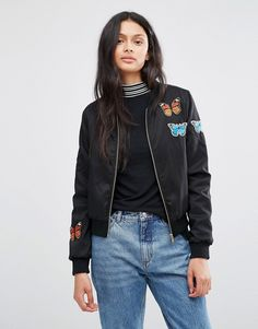 Brave+Soul+Bomber+Jacket+With+Butterfly+Badges