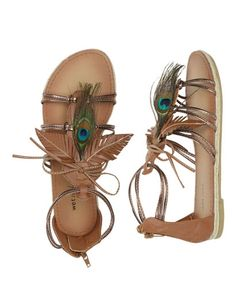 Peacock Leaf Gladiator Sandal - Teen Clothing by Wet Seal - StyleSays
