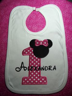 First Birthday Personalized Minnie Mouse Bib for by SewingByGrace, $9.75
