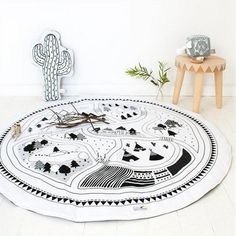 This store have THE coolest stuff for babies and kids! Whimsical Blanket Padded Play Mat black and white nursery kids room