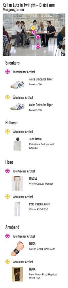 Jeder der Cullen-Jungs trägt dieses besondere Accessoire am Handgelenk. Das Lederarmband mit dem metallenen Familienwappen der Cullens ist sowohl für Jasper (Jackson Rathbone) als auch Emmett (Kellan Lutz) und Edward (Robert Pattinson) ein beliebtes Schmuckstück, dass jeder zu seinem Outfit kombiniert.