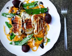 Halloumi & Butternut Squash Stir Fry with Tahini & Balsamic Dressing