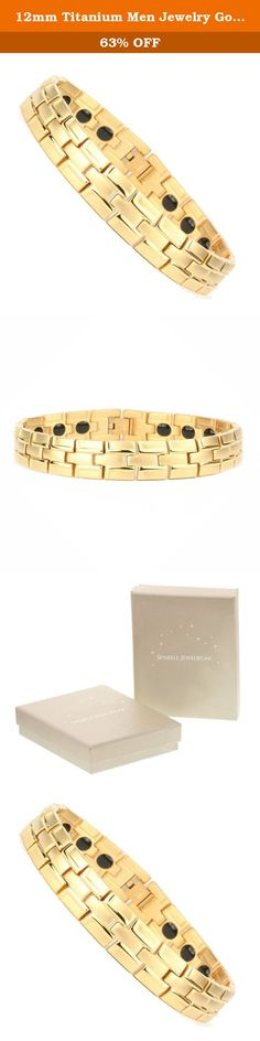 12mm Titanium Men Jewelry Gold-Tone Yellow Bracelet 8.5 Inches SPJ. Pure titanium is about as strong as stainless steel yet nearly 50% lighter. Our Titanium jewelry has hallmark Titanium. It is comfort fit and suitable for groom and bride and unisex alike. It is perfect Gifts for any season. Titanium jewelry is durable, hypo-allergenic and will not oxidize or tarnish over time in original color. It does not apply to colored Jewelry.