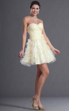 Organza kurzes Netzstoff Abiballkleid/ Festliche Kleid ohne Ärmeln mit mehrschichtigen Rüsche