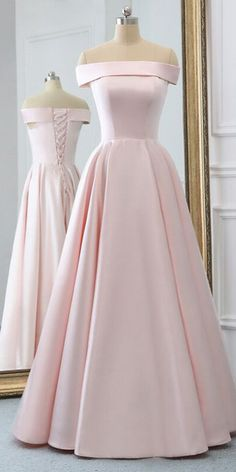 Pink Satin Long Evening Dress With Pockets, Pink Prom Gowns - 2020 New Prom Dresses Fashion - Fashion Of The Year Pretty Prom Dresses, A Line Prom Dresses, Grad Dresses, Elegant Dresses, Homecoming Dresses, Beautiful Dresses, Pink Dresses, Simple Prom Dress, Club Dresses