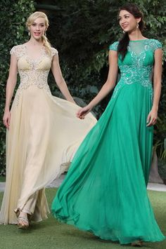 Gorgeous Beaded Cap Sleeves V Back Prom Dress Evening Gown (C36143914)