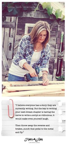 It all started with a drill - an inspirational story on ditching fear and overcoming obstacles, giving yourself permission to succeed. Because the only thing that's holding you back is YOU. via  Funky Junk Interiors