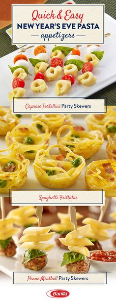 Start your New Year's Eve party right with these incredibly delicious pasta appetizers. Quick, easy and made with fresh ingredients— they're guaranteed to have your guests partying past midnight. Click to get the full recipes. #PastaAppetizer #HolidayPastaAppetizer #NewYearsEveAppetizerRecipe #NewYearsEveAppetizer #PartyAppetizer #HolidayAppetizer