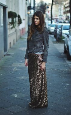 what-do-i-wear: Leatherjacket: muubaa. Glitterskirt: Gina Tricot (image: majawyh)