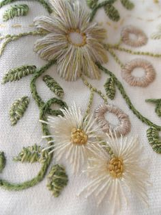 White daisy floral embroidery