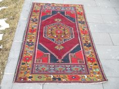 Rustic Oushak Rug Traditional Turkish Floor Rug Kitchen Rug Office Rug Workshop Rug Livingroom Rug Retro Rug    Condition: Good  Description: Turkish Pile Rug from East Anatolia Over sixty years old  Size: 78 x 35 inc 200 x 91 cm  Color: Multi Color  Material: Wool and Natural Dye  v55