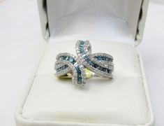 Unique Modern Real 1 Carat Blue Baguette Diamond Fine Fashion Ring Silver Sz 8 #Cocktail #Dress
