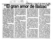 """""""El gran amor de Balzac"""" Publicado el 21 de agosto de 1980"""