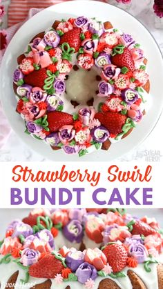 You'll love this cheerful Strawberry Swirl Bundt Cake! Fresh berries are mixed into the batter and used as decoration on this beautiful spring bundt cake. Also makes a perfect Easter cake! food for work Strawberry Bundt Cake Video Valentine Desserts, Valentines, Food Cakes, Cupcake Cakes, Cupcakes, Bundt Cakes, Easy Cake Recipes, Dessert Recipes, Easter Recipes