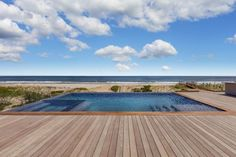 backyard pool surrounded by wood deck